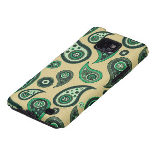Beige and Green Paisley Samsung Galaxy S Samsung Galaxy SII Covers