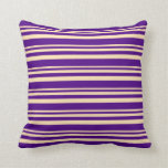 [ Thumbnail: Beige and Indigo Lined/Striped Pattern Pillow ]