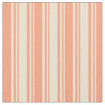 [ Thumbnail: Beige and Light Salmon Stripes Fabric ]