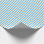[ Thumbnail: Beige and Light Sky Blue Striped Pattern Wrapping Paper ]