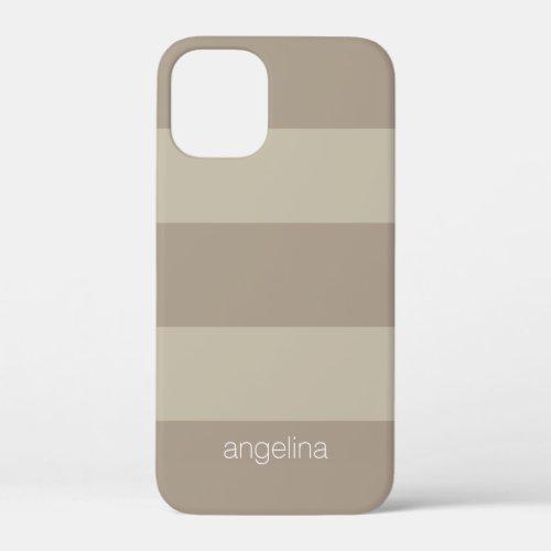 Beige and Linen Modern Striped Pattern Custom Name Phone Case