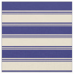 [ Thumbnail: Beige and Midnight Blue Colored Pattern Fabric ]