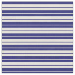 [ Thumbnail: Beige and Midnight Blue Colored Striped Pattern Fabric ]