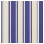 [ Thumbnail: Beige and Midnight Blue Stripes Pattern Fabric ]