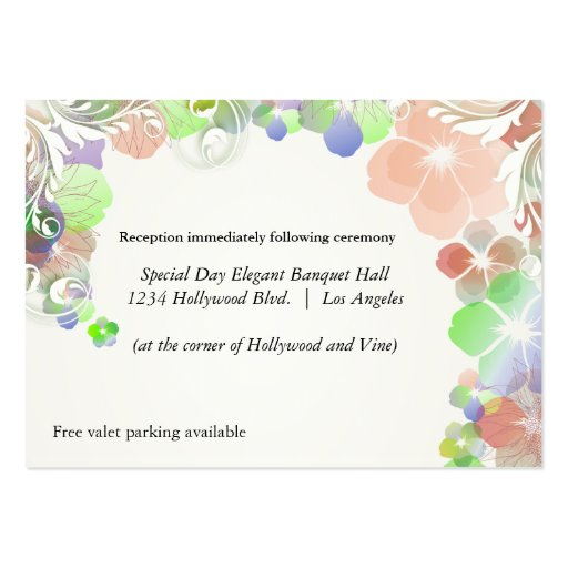 Beige And Multicolor Pansies Reception Card Business Card Template
