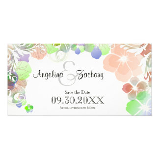 Beige And Multicolor Pansies Save-The-Date Card