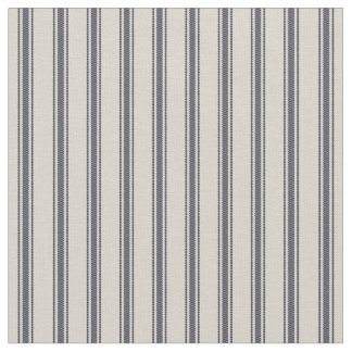 Beige and Navy Blue Classic Ticking Stripes Fabric