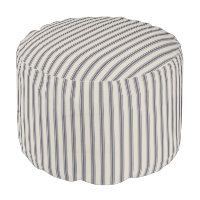 Beige and Navy Blue Classic Ticking Stripes Pouf