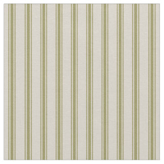 Beige and Olive Green Classic Ticking Stripes Fabric