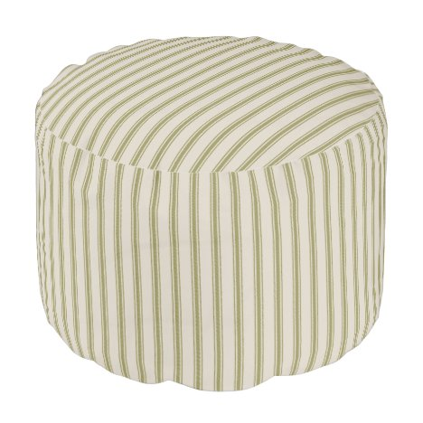 Beige and Olive Green Classic Ticking Stripes Pouf