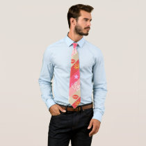 Beige And Pink Stripes Neck Tie