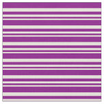 [ Thumbnail: Beige and Purple Colored Striped/Lined Pattern Fabric ]