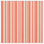 [ Thumbnail: Beige and Red Colored Lined/Striped Pattern Fabric ]