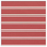 [ Thumbnail: Beige and Red Colored Lines Pattern Fabric ]