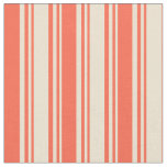 [ Thumbnail: Beige and Red Pattern of Stripes Fabric ]