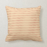 [ Thumbnail: Beige and Red Pattern of Stripes Throw Pillow ]