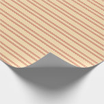 [ Thumbnail: Beige and Red Pattern of Stripes Wrapping Paper ]