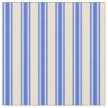 [ Thumbnail: Beige and Royal Blue Colored Pattern Fabric ]