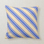 [ Thumbnail: Beige and Royal Blue Colored Pattern Throw Pillow ]