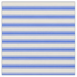 [ Thumbnail: Beige and Royal Blue Colored Stripes Pattern Fabric ]