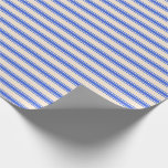 [ Thumbnail: Beige and Royal Blue Colored Stripes Pattern Wrapping Paper ]