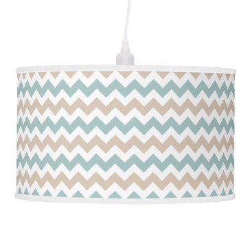 Beach Themed Beige and Sea Green Chevron Pattern- Ceiling Lamp
