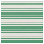 [ Thumbnail: Beige and Sea Green Colored Lines Fabric ]