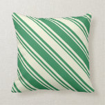[ Thumbnail: Beige and Sea Green Colored Lines Throw Pillow ]