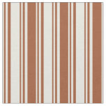 [ Thumbnail: Beige and Sienna Striped/Lined Pattern Fabric ]