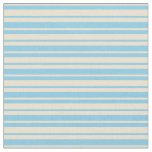 [ Thumbnail: Beige and Sky Blue Colored Stripes Fabric ]