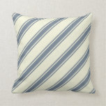[ Thumbnail: Beige and Slate Gray Colored Lines Pattern Pillow ]