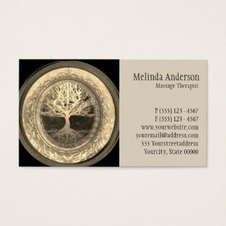 Beige and Tan Tree of Life Business Card