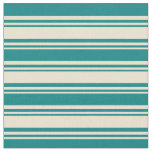 [ Thumbnail: Beige and Teal Colored Striped/Lined Pattern Fabric ]