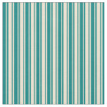 [ Thumbnail: Beige and Teal Stripes Fabric ]