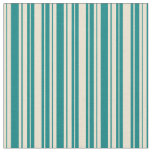 [ Thumbnail: Beige and Teal Stripes Pattern Fabric ]