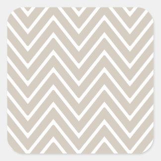 Beige and White Chevron Pattern 2 Square Sticker