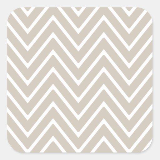 Beige and White Chevron Pattern 2 Square Stickers