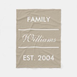 Beige And White Custom Family Name Fleece Blanket