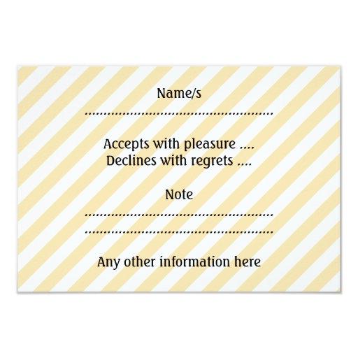"Beige and White Diagonal Stripes. 3.5"" X 5"" Invitation Card"