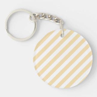 Beige and White Diagonal Stripes. Keychain