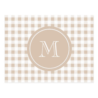 Beige and White Gingham, Your Monogram Postcard