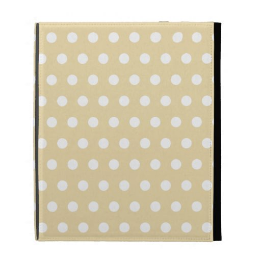 Beige and White Polka Dot Pattern. Spotty. iPad Folio Covers