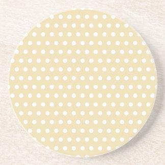 Beige and White Polka Dot Pattern. Spotty. Drink Coaster