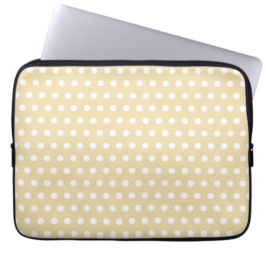 Beige and White Polka Dot Pattern. Spotty. Computer Sleeve