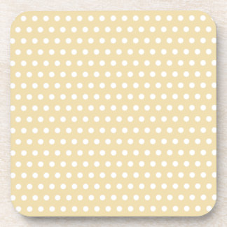 Beige and White Polka Dot Pattern. Spotty. Drink Coasters