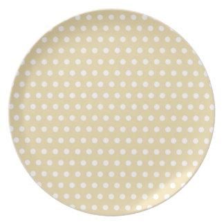 Beige and White Polka Dot Pattern. Spotty. Dinner Plate