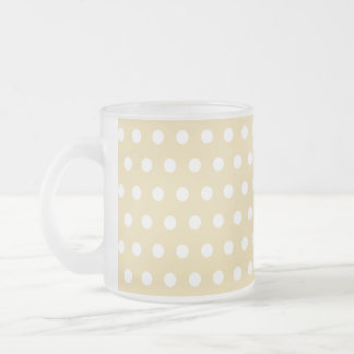 Beige and White Polka Dot Pattern. Spotty. Frosted Glass Coffee Mug