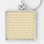 Beige and White Polka Dot Pattern. Spotty. Keychain