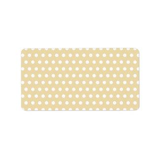 Beige and White Polka Dot Pattern. Spotty. Custom Address Labels