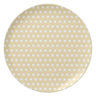 Beige and White Polka Dot Pattern. Spotty. Plates